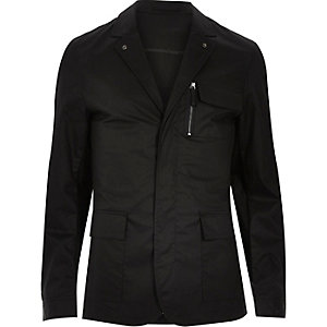 Black zip-up shirt jacket