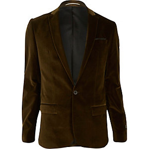 Brown velvet slim fit blazer