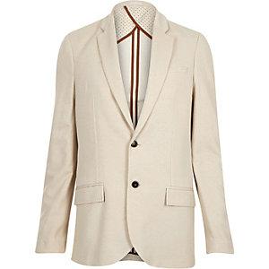 Ecru beige woven slim blazer