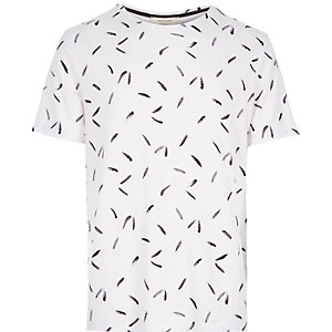 White micro feather print t-shirt