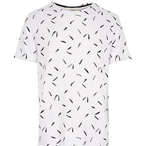 White micro feather print t-shirt
