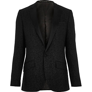Black jacquard slim tux jacket