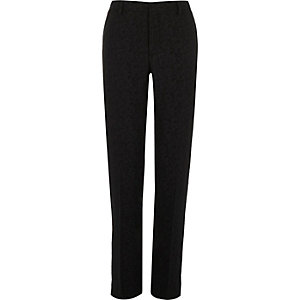 Black jacquard slim tux trousers