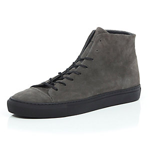 Grey nubuck lace up high top trainers