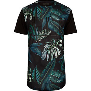 Black mesh leaf print t-shirt