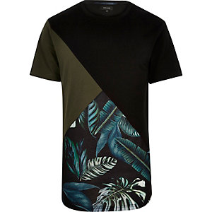 Black floral colour block t-shirt