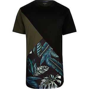 Black floral color block t-shirt