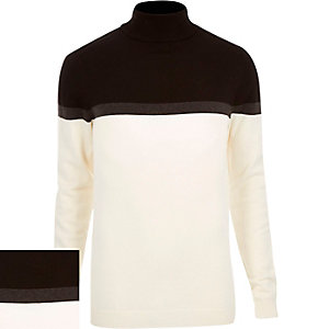 Cream block color roll neck sweater