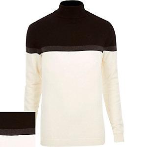 Cream block color roll neck sweater