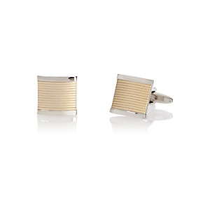 Silver tone square textured cufflinks