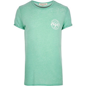 Light green NYC chest print t-shirt