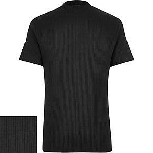 Black ribbed stand neck t-shirt