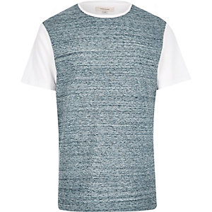 Blue block panel short sleeve t-shirt