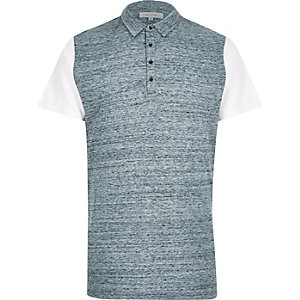Blue colour block polo shirt