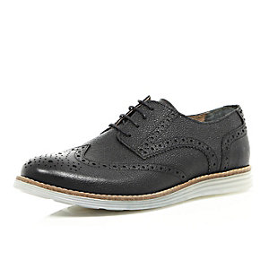 Black nubuck leather wedge sole brogues