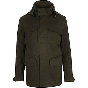Khaki green parka coat