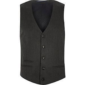 Dark grey slim suit waistcoat