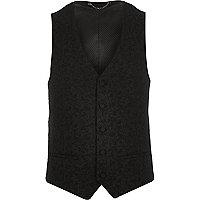 Black jacquard slim vest