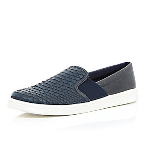 Navy snake print slip on plimsolls
