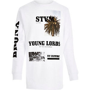 White Systvm young lords print sweatshirt