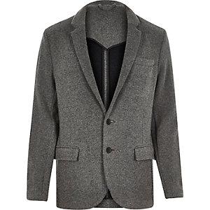 Grey knitted jersey slim blazer