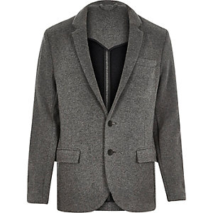 Grey knitted jersey slim blazer