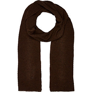Dark brown knitted scarf