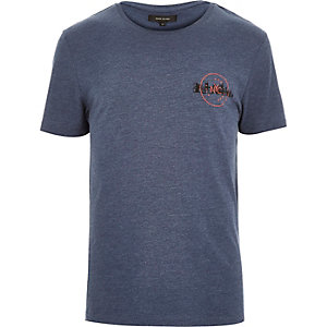 Blue marl NYC badge t-shirt