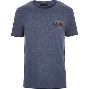 Blue marl NYC badge t-shirt