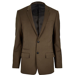 Brown skinny suit jacket
