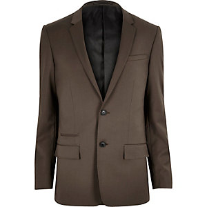 Dark brown skinny suit jacket