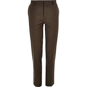 Dark brown skinny suit pants
