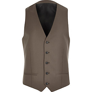 Brown skinny suit vest