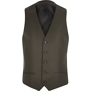 Khaki smart suit skinny vest