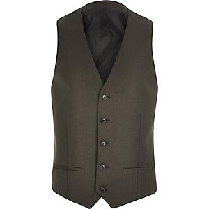 Khaki smart suit skinny vest