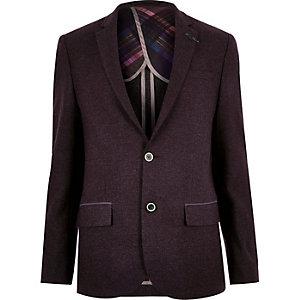 Plum wool-blend herringbone slim suit jacket