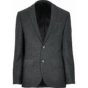 Grey wool-blend herringbone slim blazer