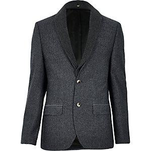 Grey herringbone shawl collar slim blazer