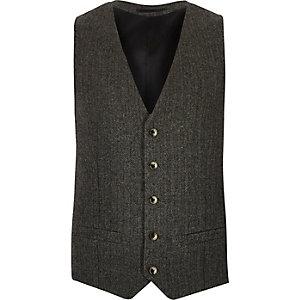 Grey wool-blend herringbone waistcoat