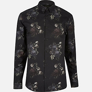 Black water lily print shirt