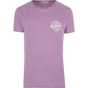 Purple burnout San Fran print t-shirt