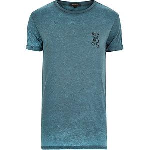 Turquoise burnout New York print t-shirt