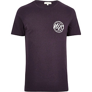 Purple NYC chest print t-shirt
