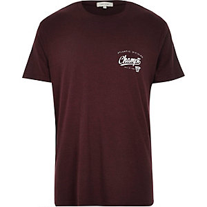 Dark red print t-shirt