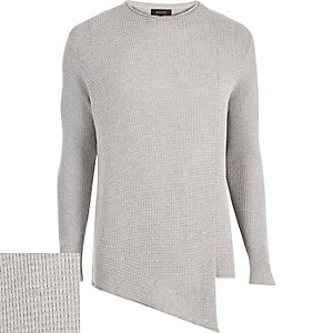 Grey asymmetric front jumper