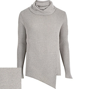 Grey cowl neck asymmetric jumper