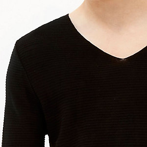 Black textured ribbed jumper