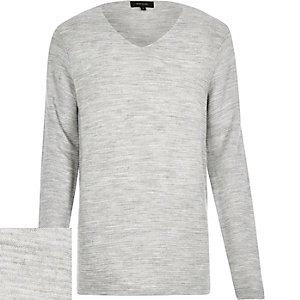 Grey textured ribbed jumper