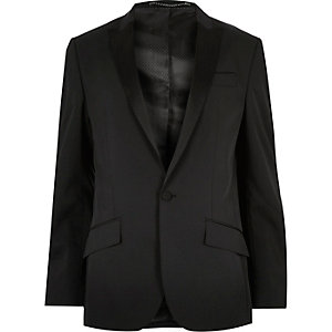 Black textured slim tux suit jacket