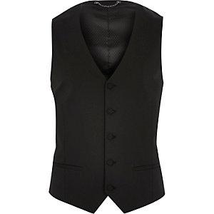 Black textured tux waistcoat